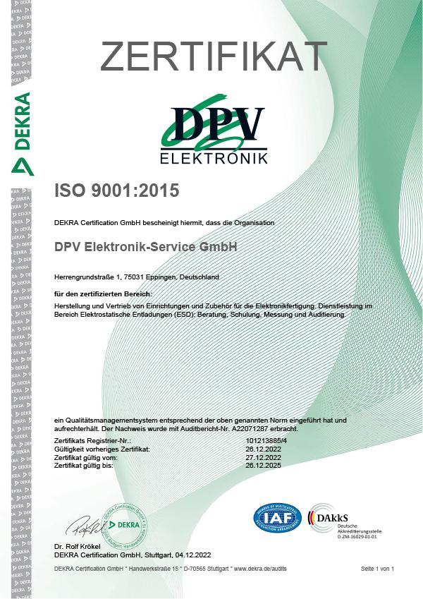 DPV Elektronik-Service GmbH - Zertifikate